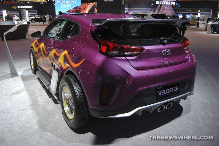 Hyundai Veloster Ant-Man and the Wasp Marvel Studios movie edition purple car flames display (2)
