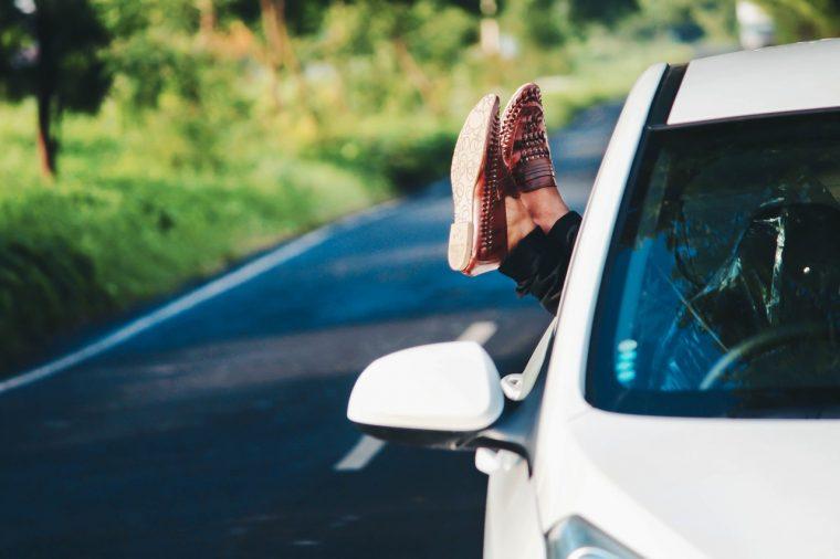 Road Trip Feet Out Window