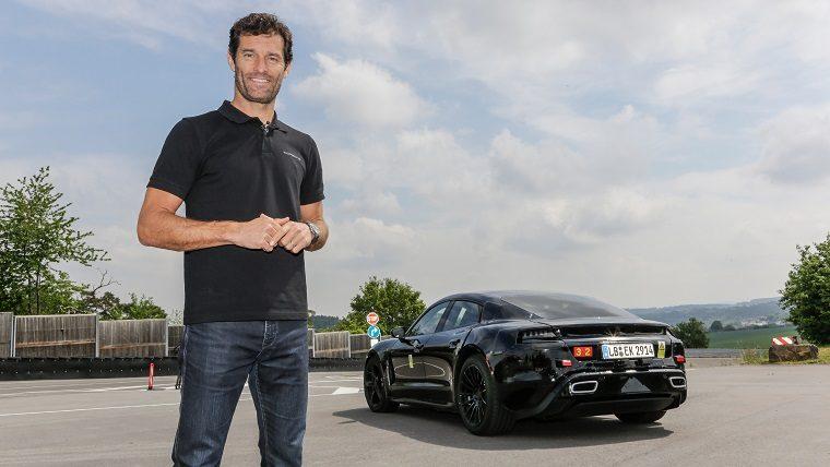 Mark Webber with Porsche Mission E