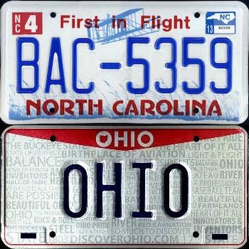 Ohio and North Carolina License Plates