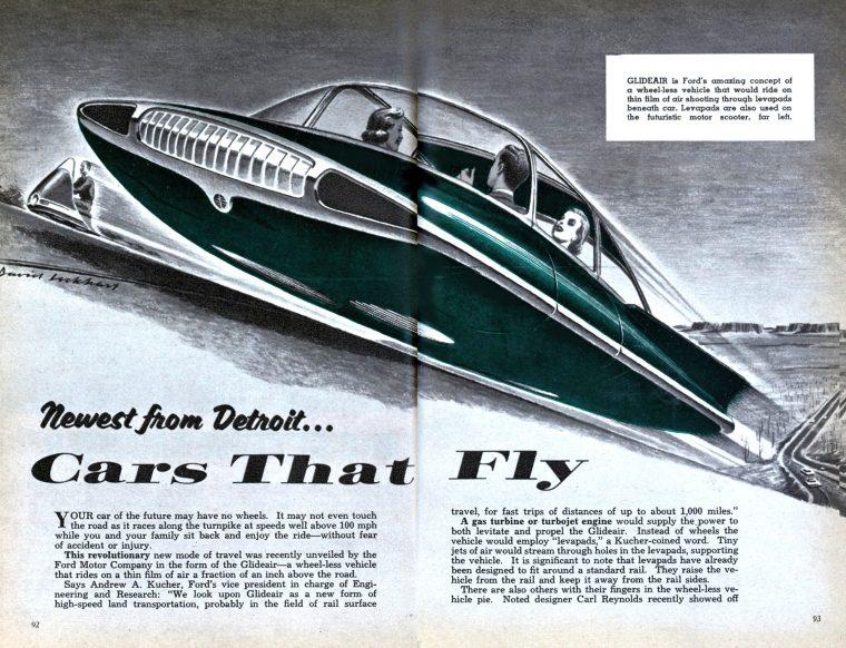 futuristic car sci-fi vehicle 1950 flying car design prediction