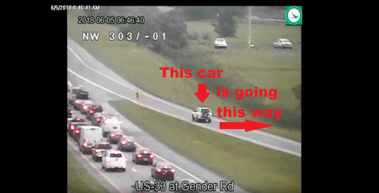 Ohio Department of Transportation reversing drive on US 33