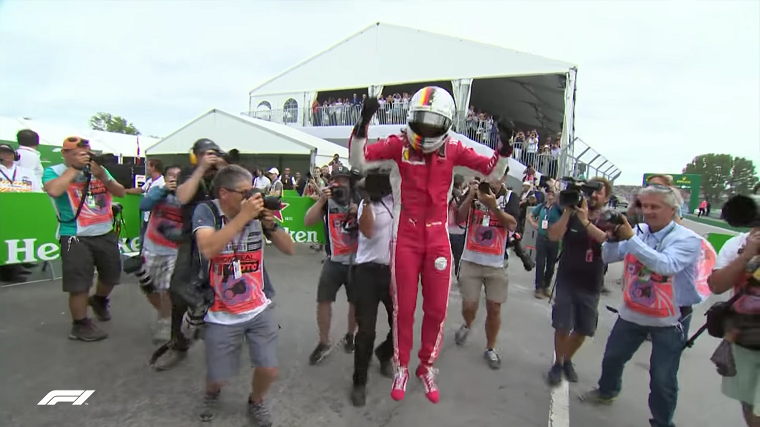 Vettel Jumps After Winning 2018 Canadian GP