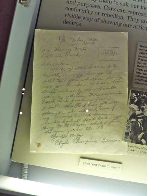 Clyde Barrow's letter to Ford