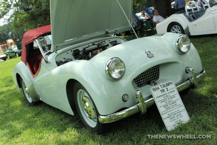 1954 Triumph TR 2 mint green classic engine Dayton British Car Day