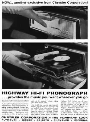 Chrysler Highway Hi-Fi record player music car vinyl advertisement ad