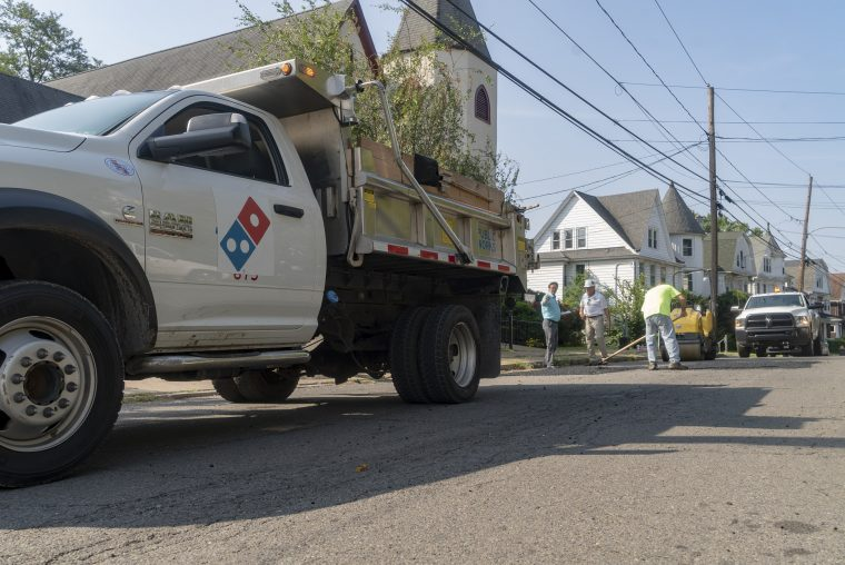 Domino's Paving for Pizza in Wilkes-Barre Pennsylvania filling potholes