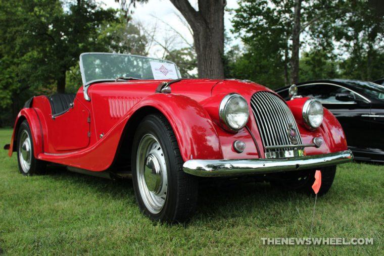 Morgan Plus Four Dayton British Car Day cruise show red classic convertible UK