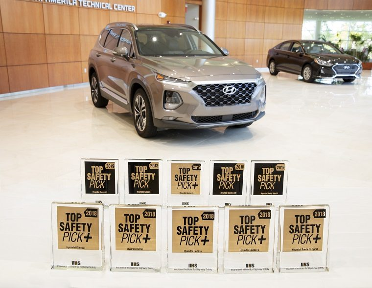 Hyundai vehicles with IIHS safety awards