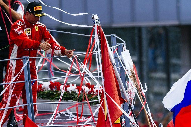 Kimi Raikkonen on Monza Podium