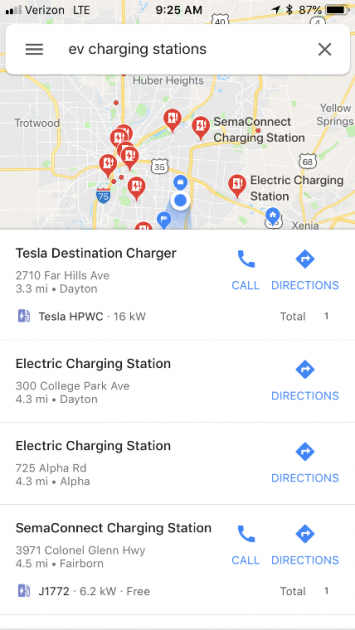 Google Maps EV charging station feature