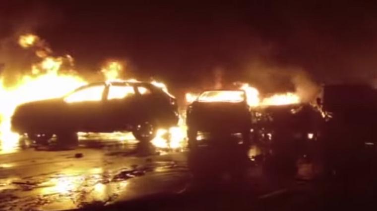 Maserati cars on fire