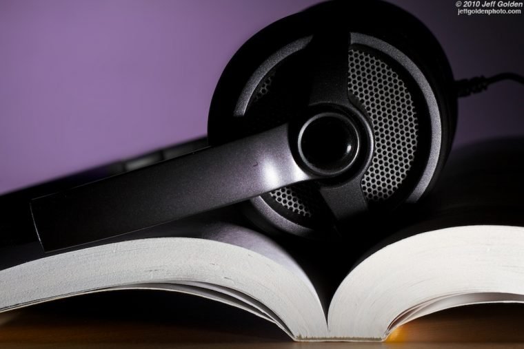 Audio Book headphones with book