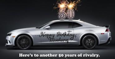 Camaro Sends Birthday Wish to Mustang