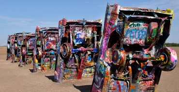 Vintage Vehicle Set Ablaze at the Cadillac Ranch