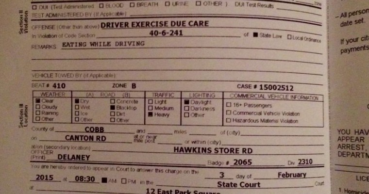 Man in Georgia Cited for Eating While Driving
