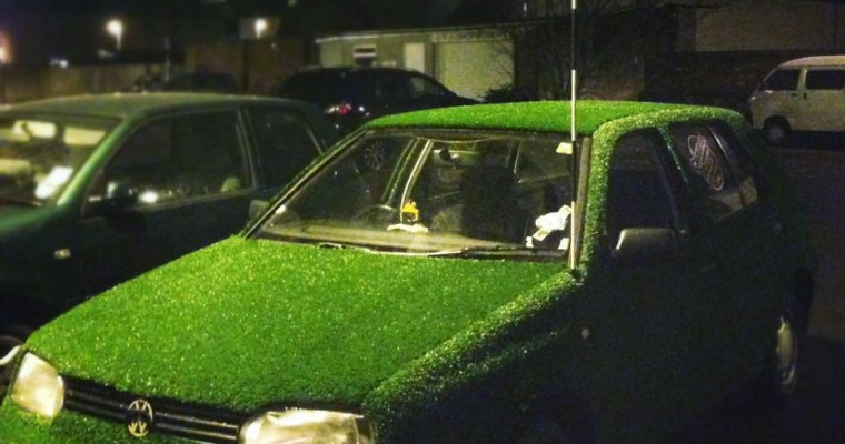 Cheeky Englishman Covers Volkswagen Golf with Astroturf