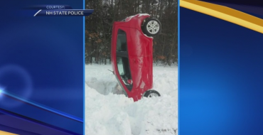Chevy Spark Crashes Upright in Snow