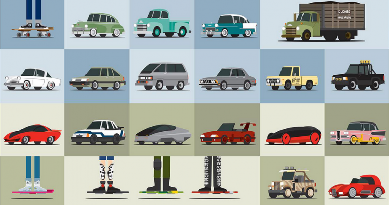 """88 Miles Per Hour"" Poster Highlights 88 'Back to the Future' Vehicles"