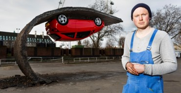 UK Artist Suspends Vauxhall Corsa 15 Feet Above Ground