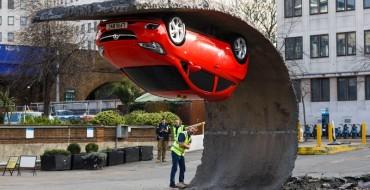 Gravity-Defying Art Sculpture Suspends Vauxhall Corsa Upside-Down