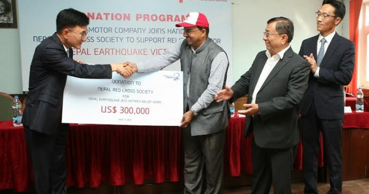 Nepal Red Cross Earthquake Relief Receives $300,000 Donation from Hyundai