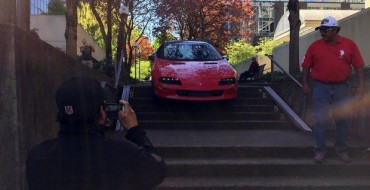 Portland Driver Gets Camaro Stuck on Steps