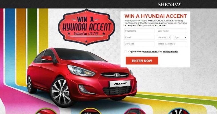 Win a New Car in SHESAID's Hyundai Accent Sweepstakes