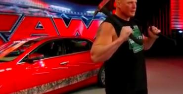 Living Embodiment of Terror Brock Lesnar Destroys Cadillac CTS