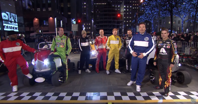 NASCAR Takes on Jimmy Fallon In Relay Race