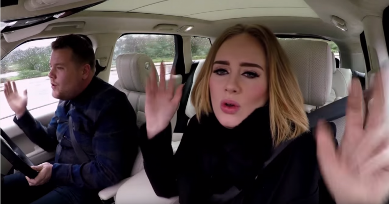Adele and James Corden Say Hello From His Car