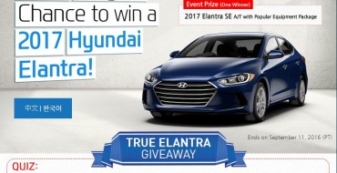 Hyundai Sweepstakes Giving Away a New 2017 Elantra!