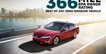 Honda Clarity Fuel Cell Sedan Achieves EPA-Rated 366-Mile Range