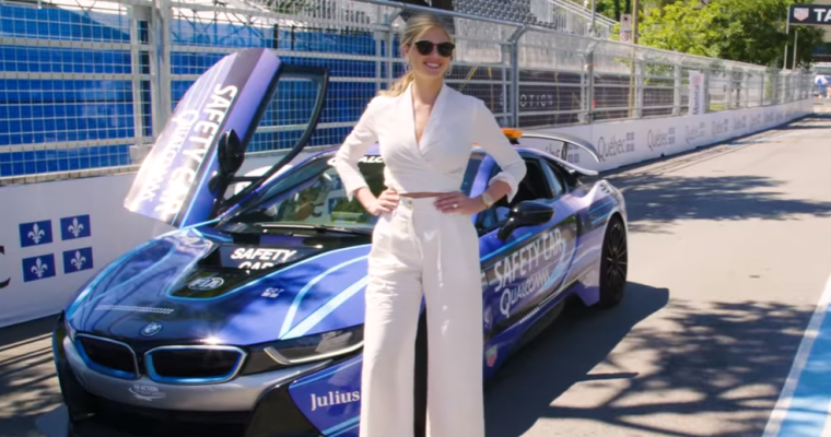 Kate Upton Hops Inside a BMW i8 During the FIA Formula E Championship in Montreal [VIDEO]