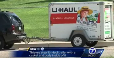 Thieves Steal Chevy Trailblazer and the Casket-Carrying U-Haul Attached