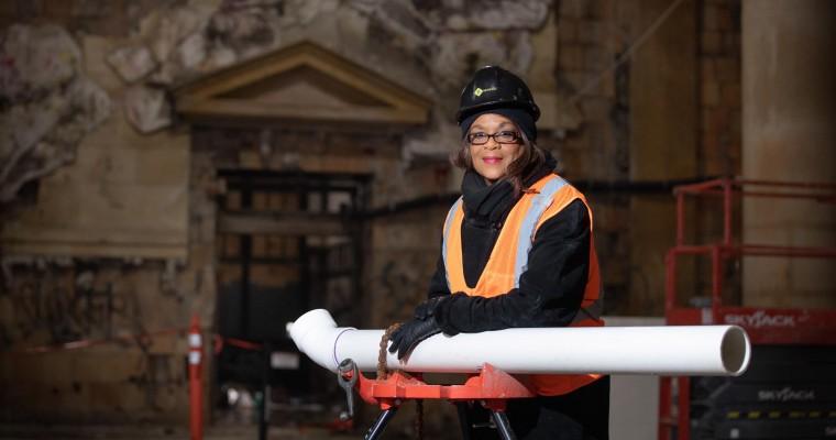 Adrienne Bennett, Michigan's First Female Plumber, Working on Michigan Central Station Restoration