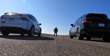 Used 2012 Porsche Cayenne and $87k New Tesla Model X Face Off in Drag Race