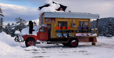 Vintage GMC Truck Transformed into Snowboarding Motor Home