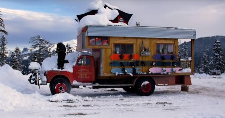 Vintage GMC Truck Transformed into Snowboarding Motor Home