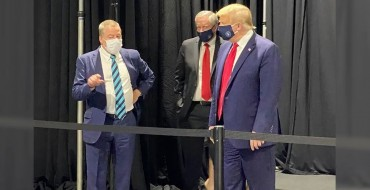 Big Strong Man Donald Trump Dons Face Mask for Ford Visit