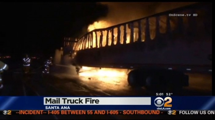 U.S. Postal Truck Catches Fire