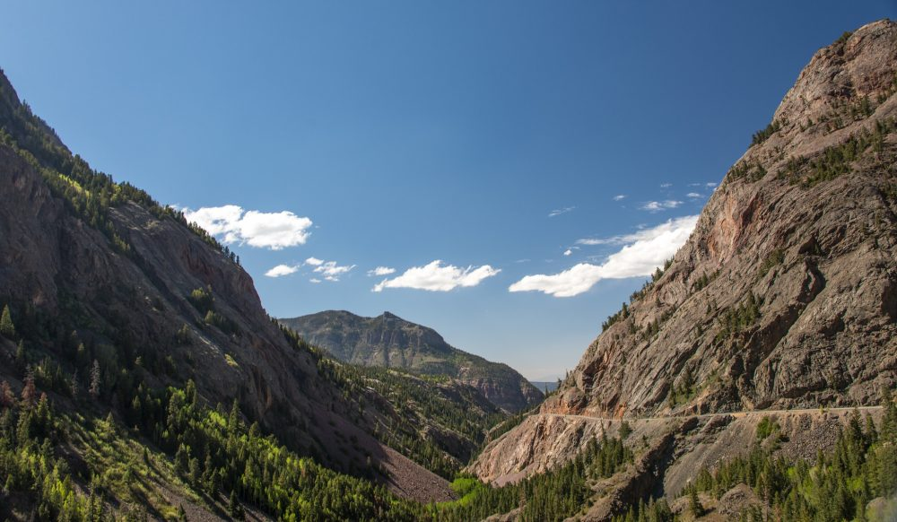 A view of the Million Dollar Highway at Uncompahgre Gorge, Colorado