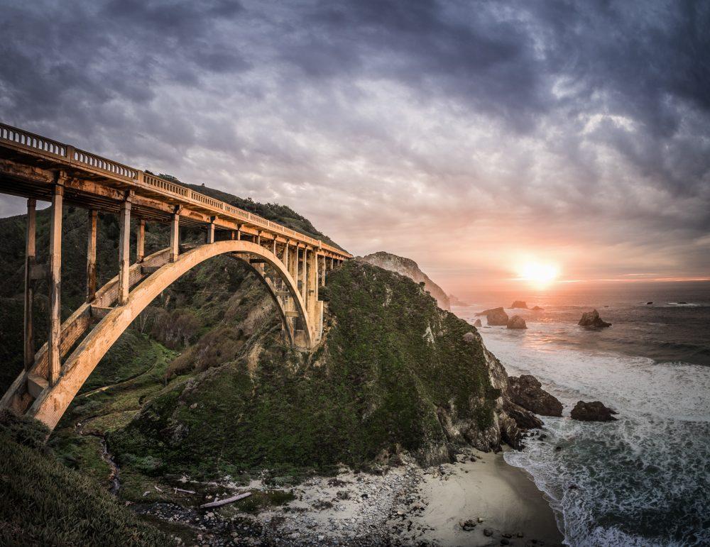 Bixby Creek Bridge in Big Sur, California, at sunset