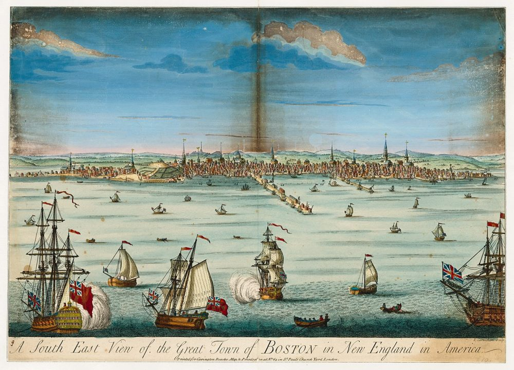 a historical postcard drawing from 1730 of Boston, Massachusetts