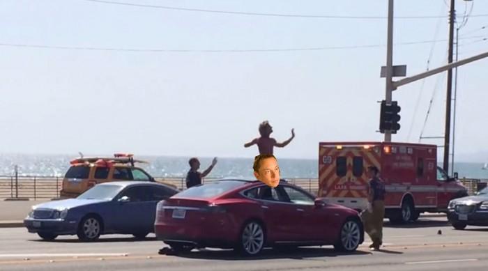 naked Tesla driver