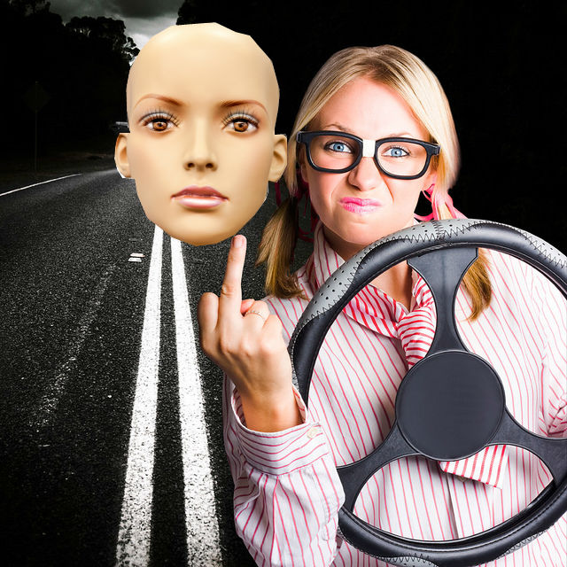 mannequin head as carpool lane passenger