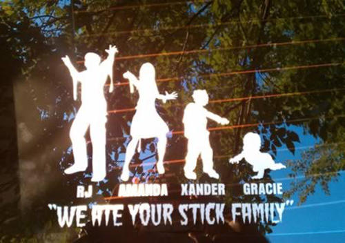 Zombie Stick Figure Family Decal