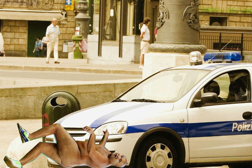 LA police run over naked man