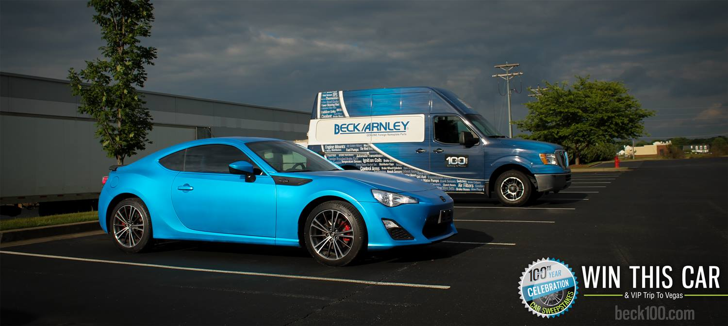 Win a one-of-a-kind 2014 Scion FR-S, dubbed The Blue Beauty, in the Beck/Arnley 100th Year Celebration Car Sweepstakes
