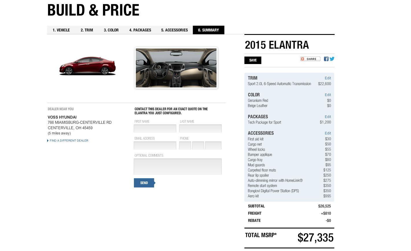 2015 Hyundai Elantra Configurator Final Estimate 2